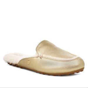 New UGG Lane Metallic Gold Slipper Loafer, 8